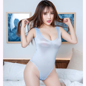 Oil Glossy Shiny High Cut Bathing Suit Women Hot Sexy Japanese See Through Sheer Swimsuit Sukumizu Body Push Up Shaping Bodysuit - DivaJean