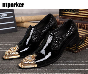 Ntparker YItaly Style Handmade Man Leather Shoes Black Man Dress Leather Shoes Ponited Steel Toe Slip-on Shoes, Big sze 46 - DivaJean
