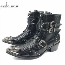 Load image into Gallery viewer, Mabaiwan Punk Style Leather Men Shoes Military Cowboy Ankle Boots High Rubber Boots Metal Pointed Toe Lace Up Buckle Shoes Men - DivaJean