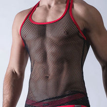 Load image into Gallery viewer, CFYH Sexy Men Tank Tops Transparent Mesh Singlet Underwear Gay Exotic Home Lounge Sleep Wear Undershirts Summer Vest - DivaJean
