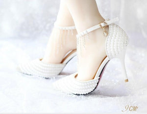 2018 Women White Crystal Shoes Tassel Wristband Wedding Shoes Pearl Bride Shoes High Heels Sandals Female Red Bottom Dress Pumps - DivaJean