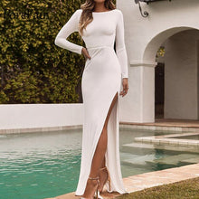 Load image into Gallery viewer, Forefair Long Sleeve Maxi Party Dress Women White Yellow Black Floor Length High Split Backless Sexy Long Club Dress Winter - DivaJean