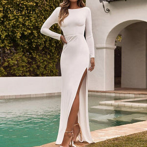 Forefair Long Sleeve Maxi Party Dress Women White Yellow Black Floor Length High Split Backless Sexy Long Club Dress Winter - DivaJean