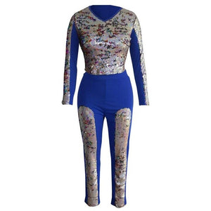 Two Piece Sweat Suit Women Clothes Sequined Patchwork Long Sleeve Crop Top+Long Pant Casual Tracksuit Club Outfits Matching Set - DivaJean