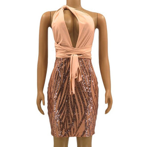 Ordifree 2019 Summer Women Bandage Dress Club Wear Party Dress Backless Sexy Bodycon Gold Sequin Dress - DivaJean