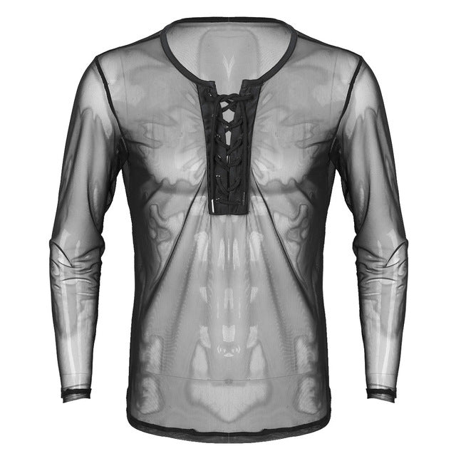 YiZYiF Mens Sexy Lace Up Mesh See Through Long Sleeve T-Shirt Men Sexy Summer Club wear Costumes Undershirts Sheer Fishnet Tops - DivaJean