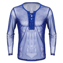 Load image into Gallery viewer, YiZYiF Mens Sexy Lace Up Mesh See Through Long Sleeve T-Shirt Men Sexy Summer Club wear Costumes Undershirts Sheer Fishnet Tops - DivaJean