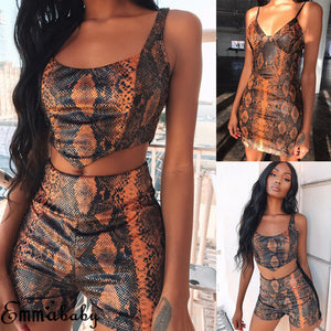 Brand 2 Pieces Set Womens Snakeskin Spring Summer Two Pieces Set Sport Crop Tops Track Pants And Short Sweat Suits Tracksuit - DivaJean