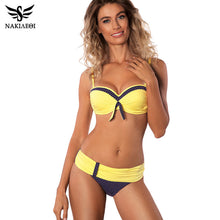 Cargar imagen en el visor de la galería, NAKIAEOI 2019 Newest Sexy Bikinis Women Swimsuit Push Up Swimwear Patchwork Dot Bikini Set Summer Beach Bathing Suits Swim Wear - DivaJean