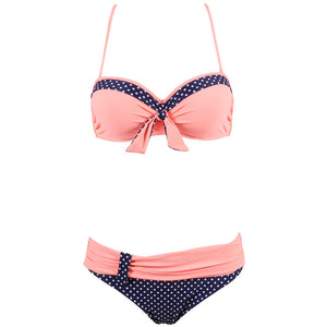 NAKIAEOI 2019 Newest Sexy Bikinis Women Swimsuit Push Up Swimwear Patchwork Dot Bikini Set Summer Beach Bathing Suits Swim Wear - DivaJean