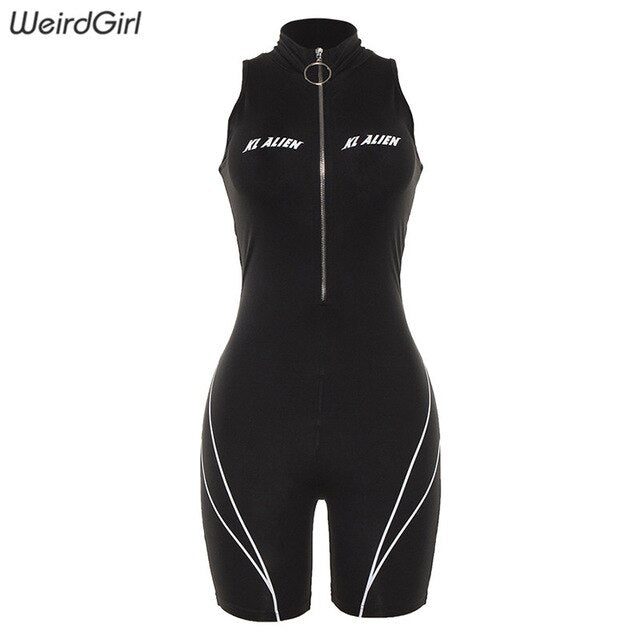 Weirdgirl women jumpsuit fitness fashion letter print skinny bodysuit sportwear turtleneck sleeveless casual striped rompers new - DivaJean