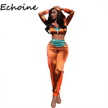 Load image into Gallery viewer, Echoine Hooded 2 Piece Set Sportwear Suit Color Patchwork With Cap Long Sleeve Crop Top + Long Pants Summer Outfits For Women - DivaJean