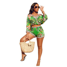 Load image into Gallery viewer, Echoine Women Two Piece Set Sexy V-Neck Crop Tops Bohemian Long Sleeve Short Pants Fashion Print Vacation Suits Female Outerwear - DivaJean