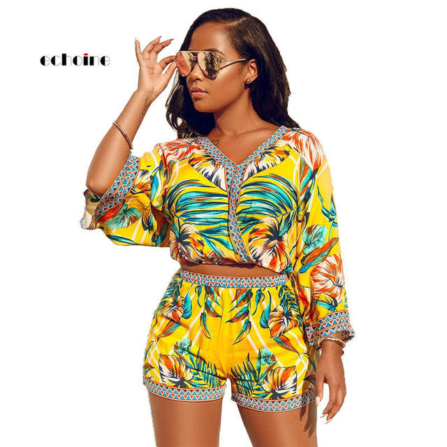 Echoine Women Two Piece Set Sexy V-Neck Crop Tops Bohemian Long Sleeve Short Pants Fashion Print Vacation Suits Female Outerwear - DivaJean