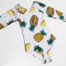 Load image into Gallery viewer, 2019 Summer Long-Sleeved Swimwear Sex Bodysuit Pineapple Print Bathing Suits Women Body Swimsuits One Piece For Surfing Swimming - DivaJean
