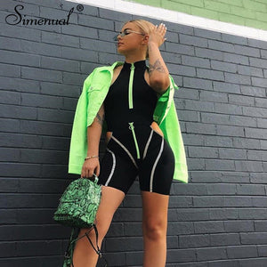 Simenual Casual Sporty Women Two Piece Sets Reflective Striped Zipper Outfits Bodysuit And Cut Out Shorts Set Streetwear Fashion - DivaJean