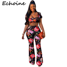 Load image into Gallery viewer, Echoine Sexy Floral Print Two Piece Set Short Sleeve Crop Top + Long Wide Pants Summer Woman Sets Outfits - DivaJean