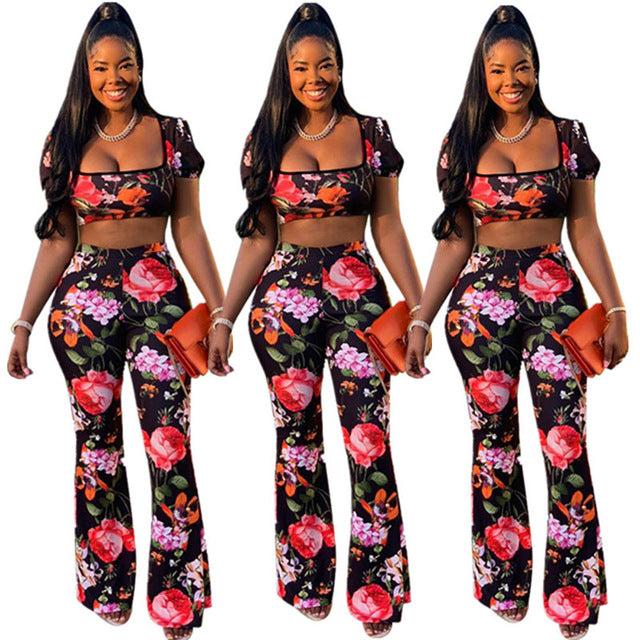 Echoine Sexy Floral Print Two Piece Set Short Sleeve Crop Top + Long Wide Pants Summer Woman Sets Outfits - DivaJean