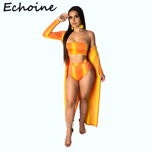 Echoine Sexy Print 3 Piece Set Swimwear Cloak + Crop Top + Short Pants Strapless Women Piece Outfits Swim Suits 5 Color - DivaJean