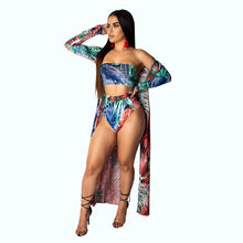 Load image into Gallery viewer, Echoine Sexy Print 3 Piece Set Swimwear Cloak + Crop Top + Short Pants Strapless Women Piece Outfits Swim Suits 5 Color - DivaJean
