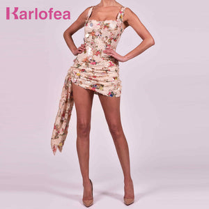 Karlofea Office Lady Slim Wrap Dresses Sexy Ruched Glitter Sequined Club Night Party Wear Chic Draped Gorgeous Outfits Sundress - DivaJean