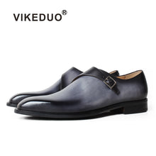 Cargar imagen en el visor de la galería, VIKEDUO Formal Monk Shoes For Men Genuine Leather Gray Shoes Patina Square Toe Wedding Office Footwear Male Dress Shoes Zapatos - DivaJean