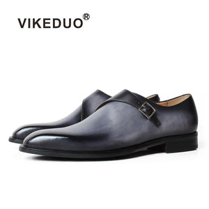 VIKEDUO Formal Monk Shoes For Men Genuine Leather Gray Shoes Patina Square Toe Wedding Office Footwear Male Dress Shoes Zapatos - DivaJean