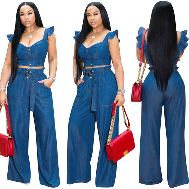 Echoine Cowboy Women Sets Butterfly Sleeve Short Crop Top +Long Wide Pants Backless Cut Out Button Women Two Piece Outfits - DivaJean