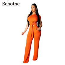 Load image into Gallery viewer, Echoine 2 Pieces Set Cut Out Shirt Front Tie Short Sleeve Crop Top + Long Wide Pants Bandage Women Summer Clothing Set 5 Color - DivaJean