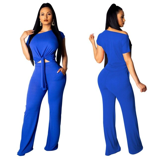 Echoine 2 Pieces Set Cut Out Shirt Front Tie Short Sleeve Crop Top + Long Wide Pants Bandage Women Summer Clothing Set 5 Color - DivaJean