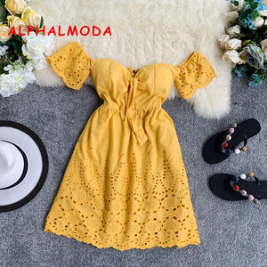 ALPHALMODA 2019 New Summer Sexy Padded Beach Dress Flare Sleeve High Waist Women Holidays Mini Vestidos Yellow - DivaJean