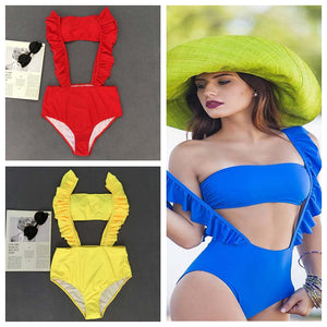 Two Pieces Swimsuit Female Swimwear Bikini 2019 Swimming Bathing Suit for Women Ruffle High Cut Bodysuit Bather Maillot de bain - DivaJean