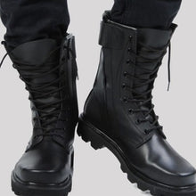 Cargar imagen en el visor de la galería, Steel Toe Microfiber Leather Men Military Boots Men's Motorcycle Riding Hunting Walking Shoes Designer Desert Botas Hombre Black - DivaJean