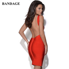 Load image into Gallery viewer, Sexy Backless Mini Bandage Dress Red Black White Yellow Blue Spaghetti Strap Dresses Celebrity Party Club Vestido Free Shipping - DivaJean