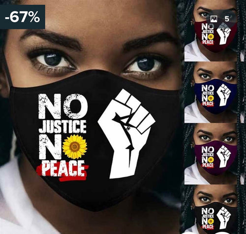 Black Lives Matter Face Mask Collection - No Justice No Peace - DivaJean