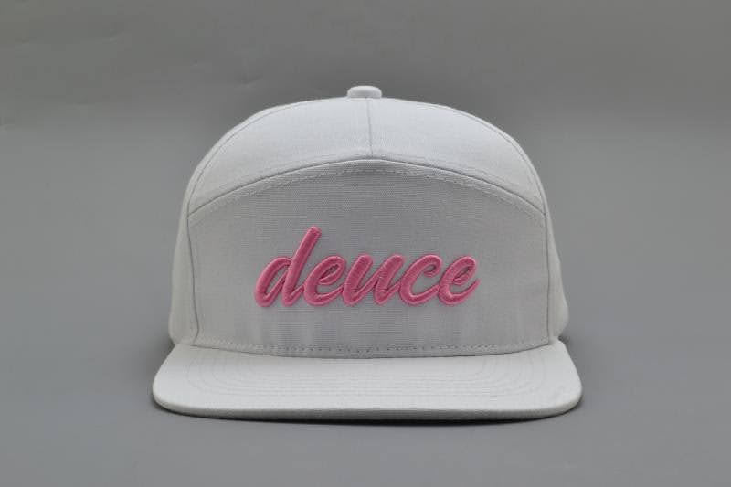 Signature 7 Panel Deuce Tour Golf Hat - White and Pink