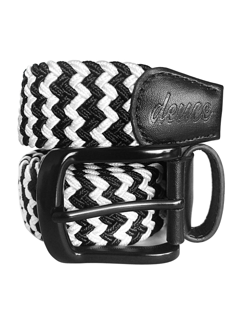 Black and WHite Elastic Canvas Golf Belt