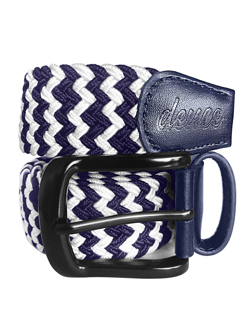 Navy Blue and White Elastic Canvas Golf Belt