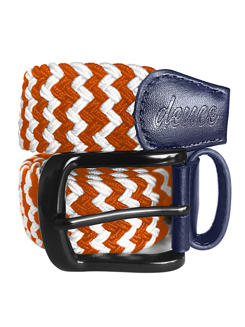 Orange and White Elastic Canvas Golf Belt