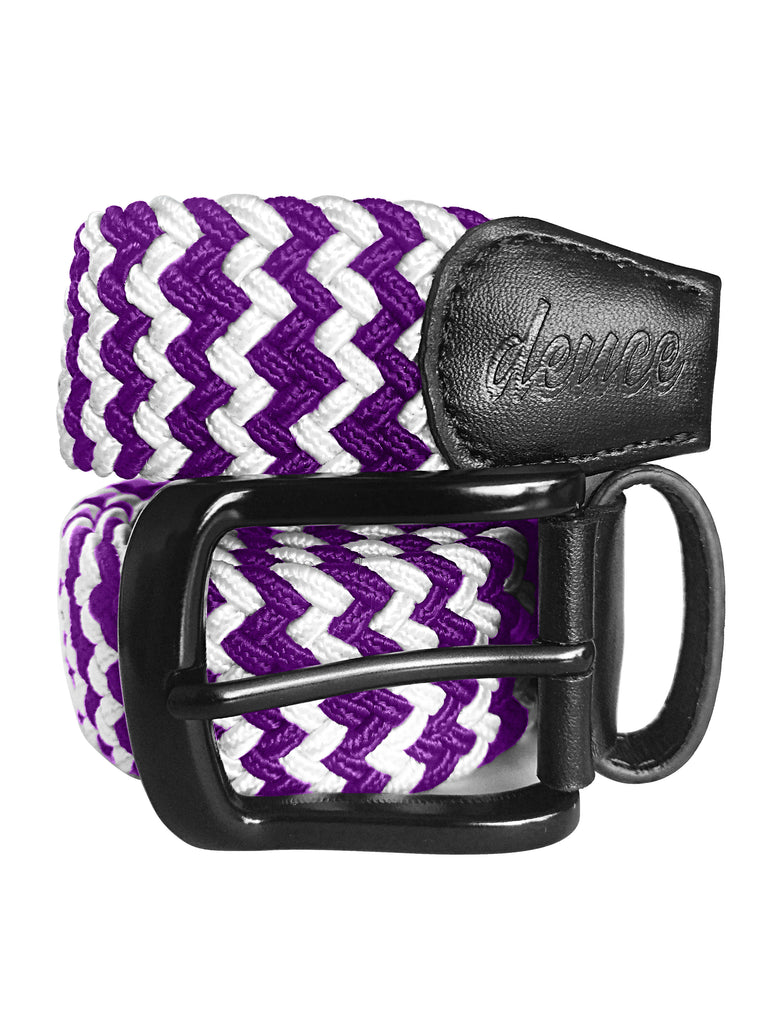 Purple and WHite Elastic Canvas Golf Belt