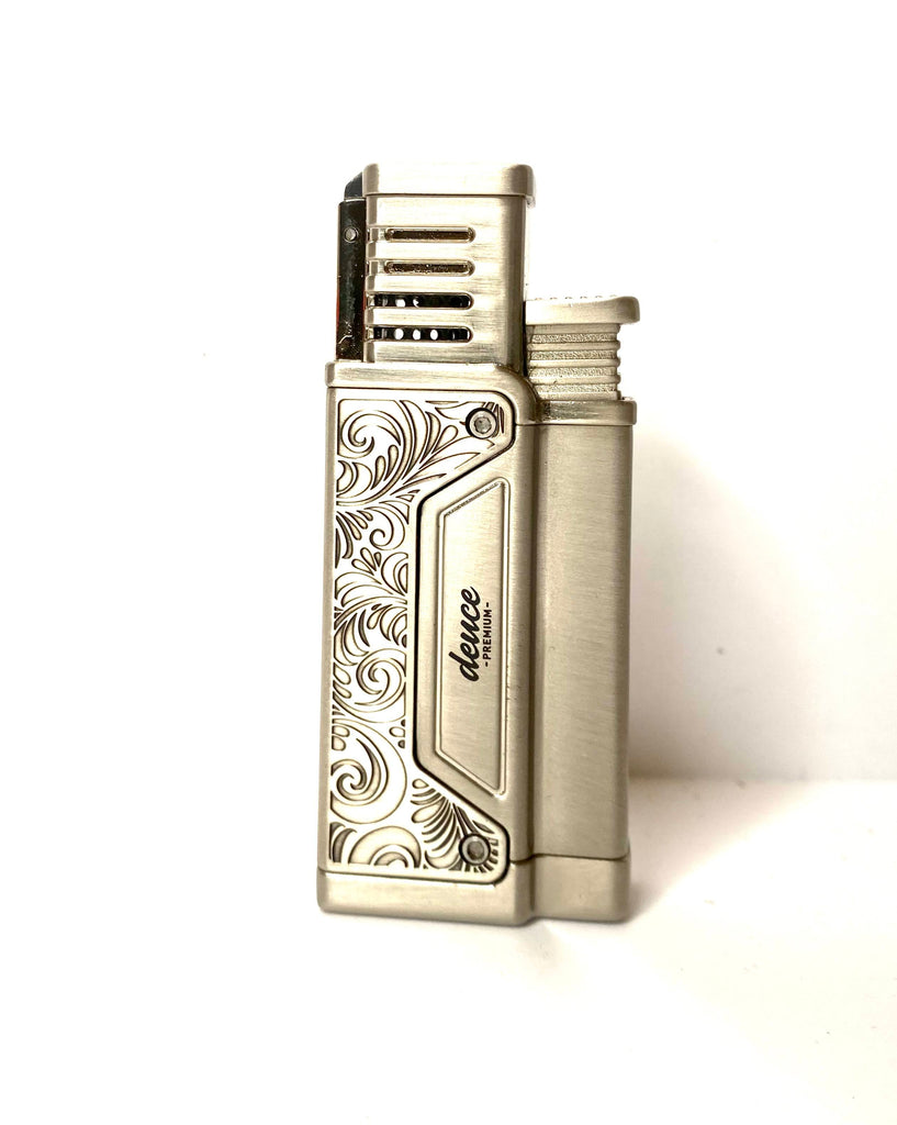 Brushed Finish Silver Cigar Torch Lighter