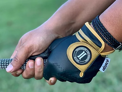 Black and Gold Cabretta Leather Golf Glove, Deuce Golf Glove, Alpha Phi Alpha, Saints Golf Glove