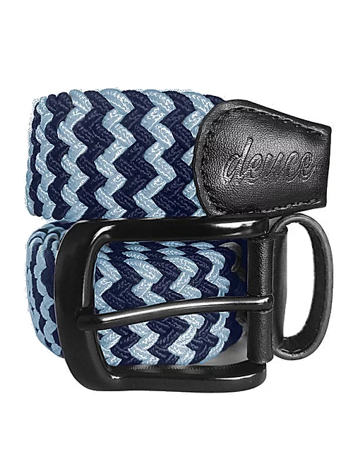 Navy Blue and Light Blue Elastic Canvas Golf Belt
