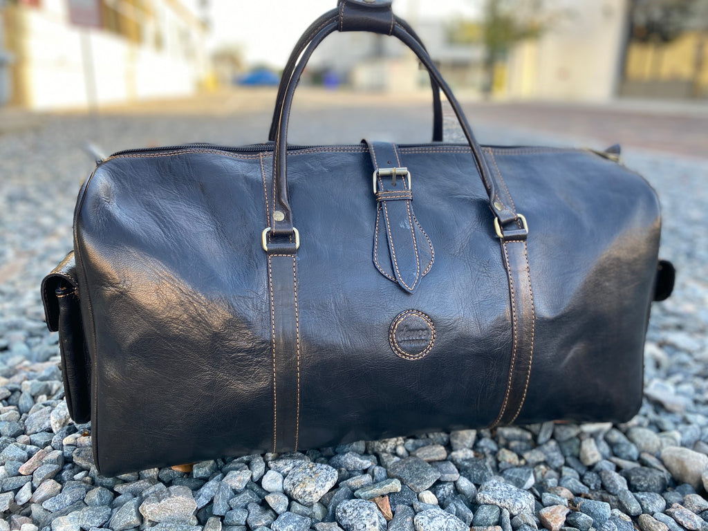 The Weekender - Black Noir with Tan Stitching Deuce Premium Duffle Bag