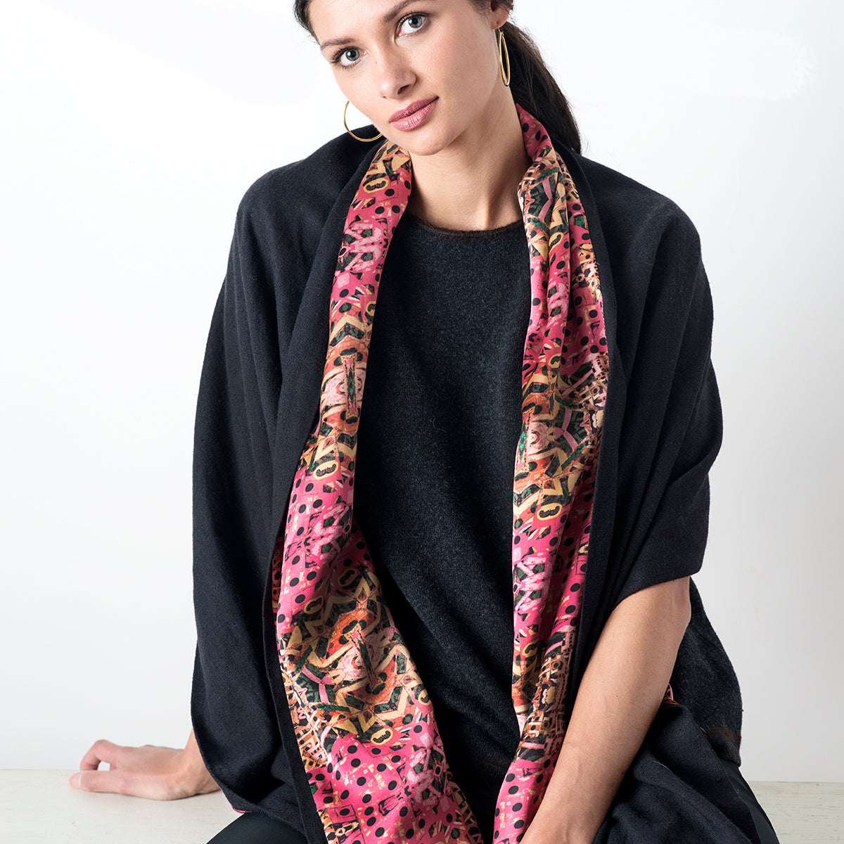 Reversible Peru Silk Print Wrap