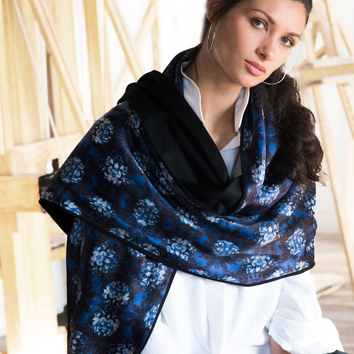 Reversible Sicily Silk Print Wrap
