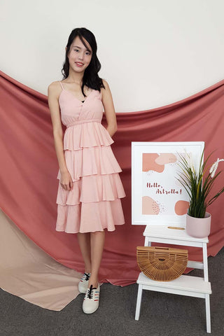 Elize Tiered Dress in Peach Pink