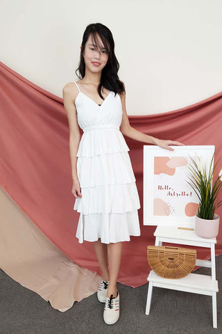 Elize Tiered Dress in White