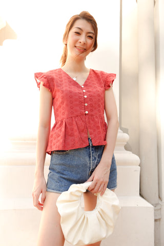Sunshine Ruffle Sleeves Eyelet Top in Red