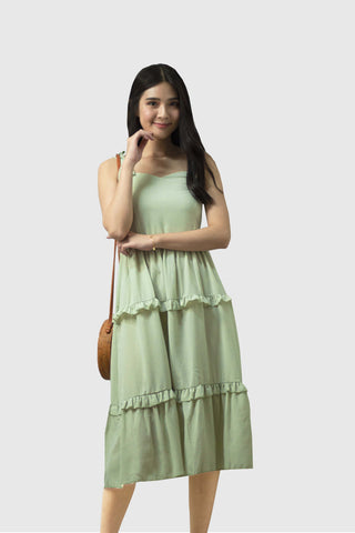 Arissa Tie Knot Dress in Mint Green